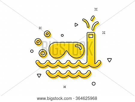Trip Swimming Sign. Travel Scuba Diving Icon. Holidays Symbol. Yellow Circles Pattern. Classic Scuba