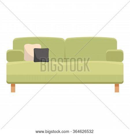 Green Pillow Soft Sofa Icon. Cartoon Of Green Pillow Soft Sofa Vector Icon For Web Design Isolated O