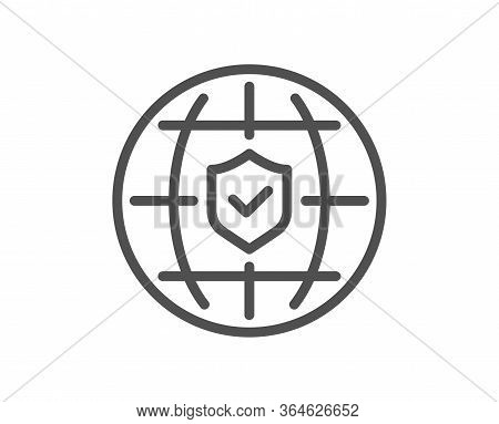 Global Insurance Line Icon. Travel Risk Coverage Sign. Policyholder Protection Symbol. Quality Desig