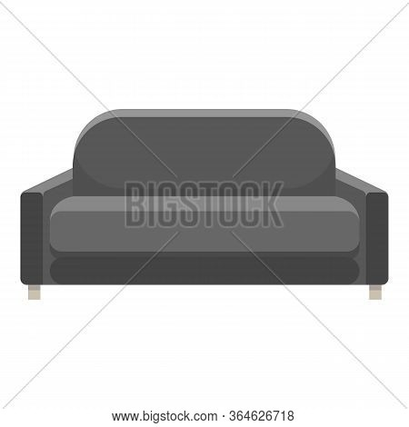 Long Black Modern Sofa Icon. Cartoon Of Long Black Modern Sofa Vector Icon For Web Design Isolated O