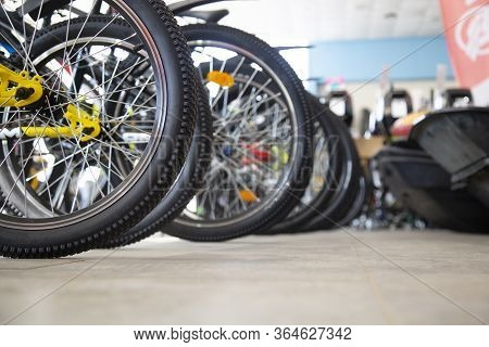 Bicycle Parking.a Bicycle Shop. Bicycle Repair And Maintenance.