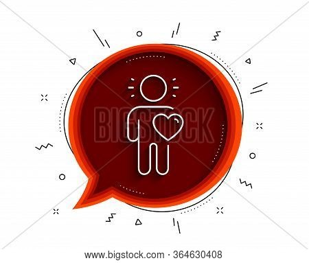 Friend Line Icon. Chat Bubble With Shadow. Friendship Love Sign. Assistance Business Symbol. Thin Li