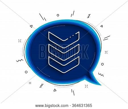 Shoulder Strap Line Icon. Chat Bubble With Shadow. Army Reward Sign. Best Rank Symbol. Thin Line Sho