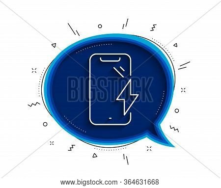 Smartphone Charging Line Icon. Chat Bubble With Shadow. Phone Charge Sign. Mobile Device Energy Symb