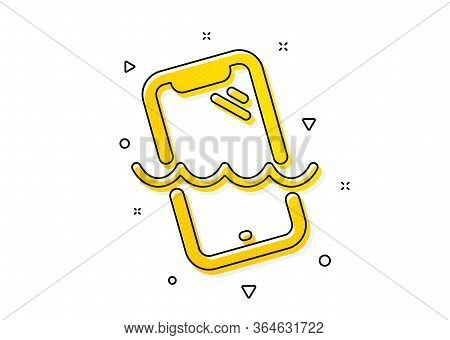 Phone Sign. Smartphone Waterproof Icon. Mobile Device Symbol. Yellow Circles Pattern. Classic Smartp