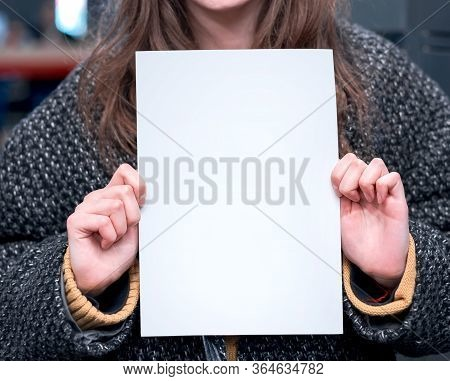 Beautiful Mixed Race Female Holding In The Blank Sign