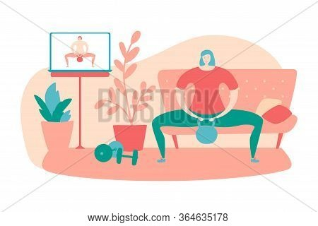 Vector Illustration Home Fitness. Woman Doing Sumo Squat With Kettlebell. Working Out With Fitness V