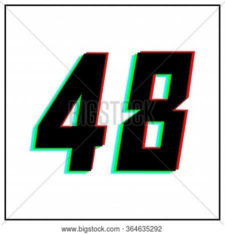 Number 48 Vector Desing Logo.dynamic, Split-color, Shadow Of  Number Red, Green, Blue In Black Frame