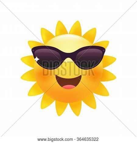 Sun Bright Yellow Emoticon, Happy Summer Face With Sunglasses.  Premium Vector.