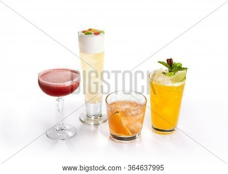 Cocktail isolated over white for decoration design. Summer alcohol cocktail. Classic cocktail isolated on white, great design for any purposes.
