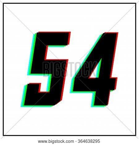 Number 54 Vector Desing Logo.dynamic, Split-color, Shadow Of  Number Red, Green, Blue In Black Frame