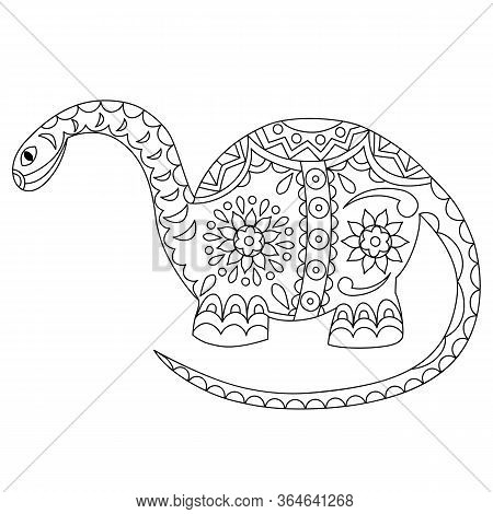 Vector Outline Contour Of A Dinosaur On A White Background.