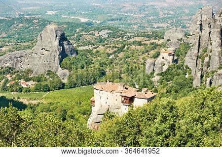 Monasteries of Rousanou and of Agios Nikolaos on the cliffs in Meteora, Thessaly, Greece - Greek landscape