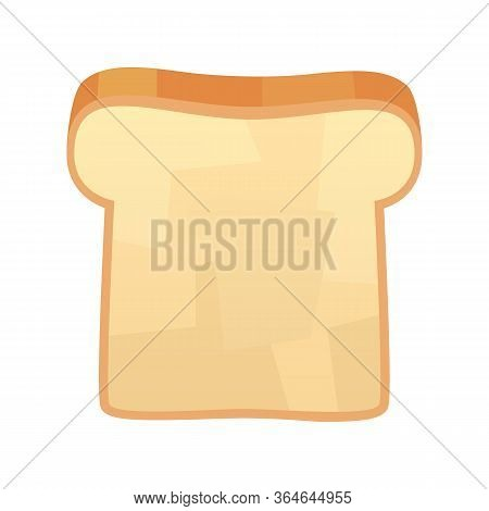 Closeup Of Slice Of Bread Isolated Illustration On White Background Vector