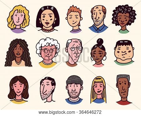 Faces Of People. Character Set. Human Avatars Collection. Old And Young Age. Happy Emotions. Portrai
