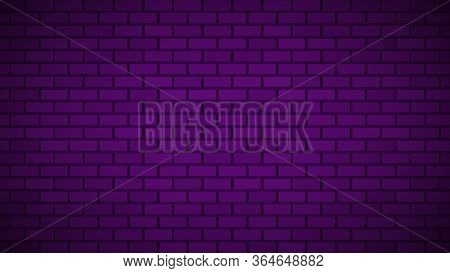 Empty Brick Wall With pink Neon Light With Copy Space. Lighting Effect Pink Color Glow On Brick Wal