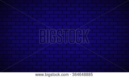 Empty Brick Wall With Blue Neon Light With Copy Space. Lighting Effect Blue Color Glow On Brick Wall
