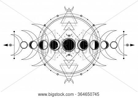 Mystical Drawing: Phases Of The Moon, Energy Circles. Sacred Geometry. Alchemy, Magic, Esoteric, Occ
