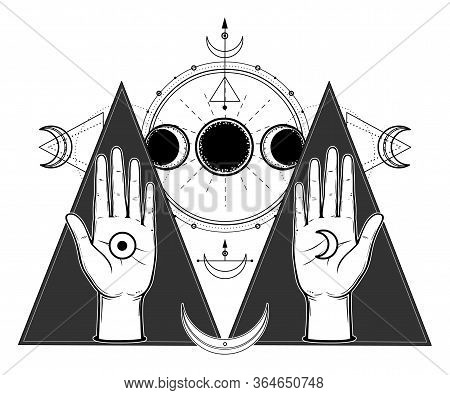 Mystical Drawing: Human Hands Hold Lunar Symbols. Phases Of The Moon, Energy Circles. Sacred Geometr
