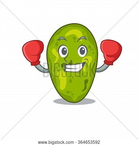 A Sporty Boxing Athlete Mascot Design Of Cyanobacteria With Red Boxing Gloves