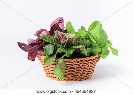 Green And Red Thai Spinach Leaf Or Edible Amaranth (asian Plant) In A Basket On White Background, Hi