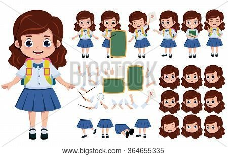 Student Girl Character Creation, Vector Set. School Girl Editable Character Creation, Kit In Differe