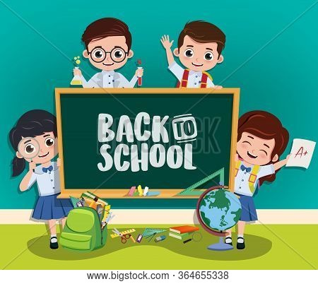 Back To School Vector Characters Concept. Back To School Text In Chalkboard With Pre-school, Classma