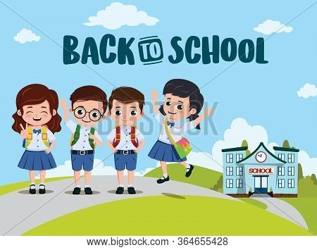 Back To School Classmates Vector Design. Back To School Text And Campus With Pre-school, Student Cha