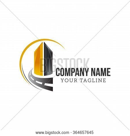 Asphalt Logo Vector,paving Logo Design Template. Construction Vector Icon Idea With Highway In Negat