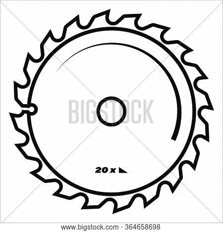 Circular Saw Blade. The Icon. Isolated Vector On White Background