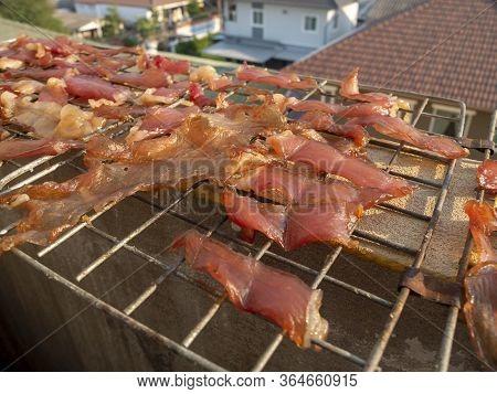 Sun Dried Pork On The Streets Food Of Bangkok, Thailand