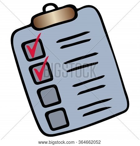 Taking a survey or test. Check the box. Action plan point by point. Vector illustration. Isolated white background. Cartoon style. Form to fill. Voting bulletin. Work online in quarantine. Perform a task. Official letterhead. Illustration for web design.