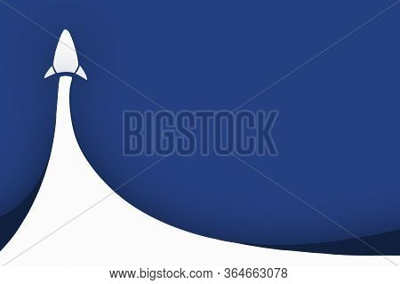 White Rocket Into Up The Deep Blue Color Space. Startup Project Team Business With Text Space. Conce