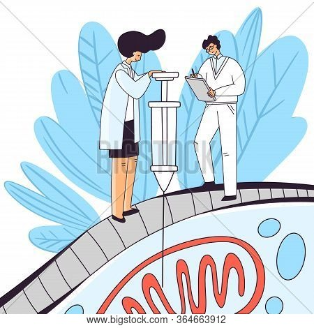 Man And Woman Character Doing Cell Research, Cell Dna Treatment With Syringe Inside Mitochondria. Ce