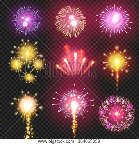 Firework. Cracker Vector Firework On Night Sky Illustration. Festive Firecracker Effect On Transpare