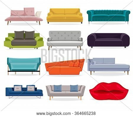Sofa Isolated. Comfort Classic Couch And Modern Divan For Living Room. Vector Sofa Flat Illustration