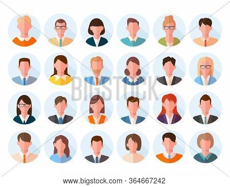 Avatars Head Large Set. Characters Anonymous Users Student Businessman Teenager, Worker Female Male
