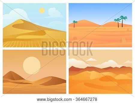 Desert Landscape. Hot Sunrise And Sunset, Palm Trees In Sand, Dry Blue Sky, Sandy Quarries Of Sahara