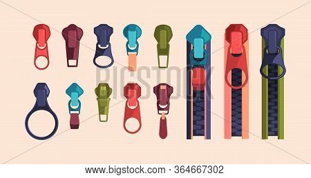 Zipper And Sliders Puller Set. Metal Clasp And Zippers In Blue, Red, Green Color, Decorative Strippe