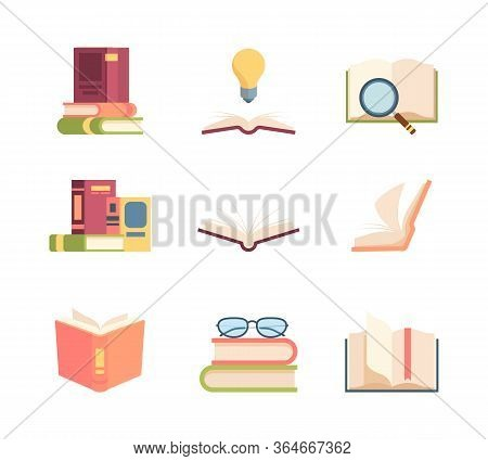 Textbook Set Knowledge. Stack Of Books Folded, Open Encyclopedia Scrolling Pages Information Idea Ma