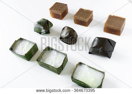 Malaysian Food. Chocolate Jelly, Kuih Koci, And Kuih Tepung Pelita