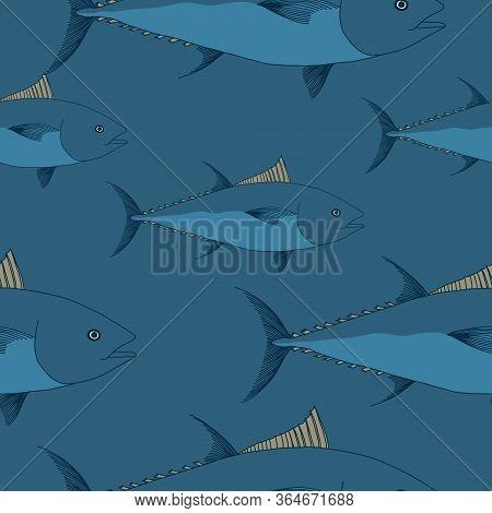 Tuna Seamless Pattern. World Tuna Day Illustration. May 2. Hand Drawn Tuna Illustration. Greeting Ca