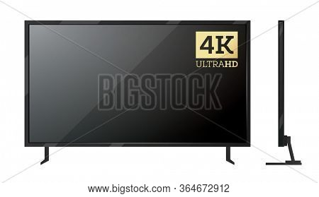 4k TV Screen Isolated on White.