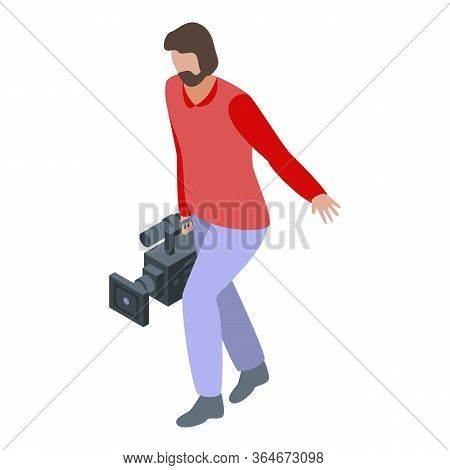 Cinema Cameraman Icon. Isometric Of Cinema Cameraman Vector Icon For Web Design Isolated On White Ba