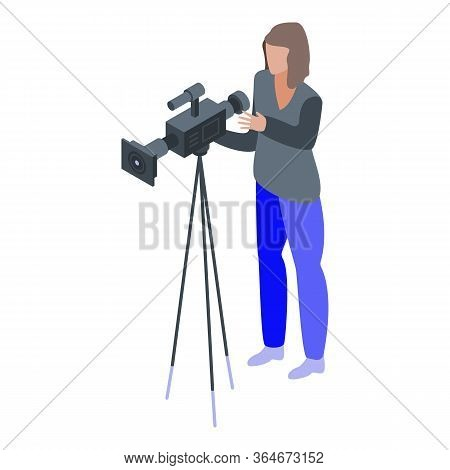 Woman Cameraman Icon. Isometric Of Woman Cameraman Vector Icon For Web Design Isolated On White Back