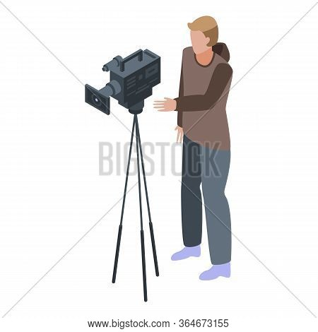 Outdoor Cameraman Icon. Isometric Of Outdoor Cameraman Vector Icon For Web Design Isolated On White