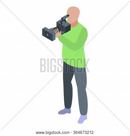 Media Cameraman Icon. Isometric Of Media Cameraman Vector Icon For Web Design Isolated On White Back