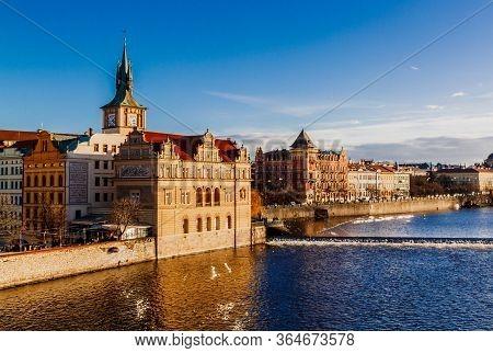 Prague, Czechia - 26 December 2017: View On Old Town Prague From Bridge Tower