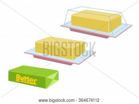 Vector Yellow Stick Of Butter Isolated On Background. Slices Of Margarine Or Spread, Fatty Natural D