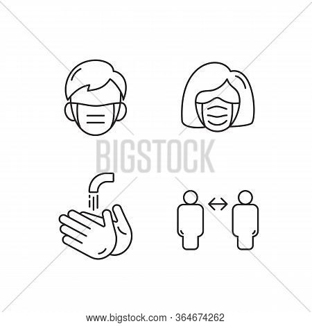 Line Icon Man And Woman Face With Mask, Wash Your Hands And Keep Your Distance Vector. Illustration